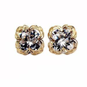 Gold  sweet flower side crystal earrings